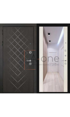 Входная дверь Президент LUXE Regidoors внешняя МДФ 10 горький шоколад внутренняя зеркало, белый сандал