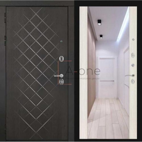 Входная дверь Президент LUXE внешняя МДФ 10 горький шоколад внутренняя зеркало, белый сандал