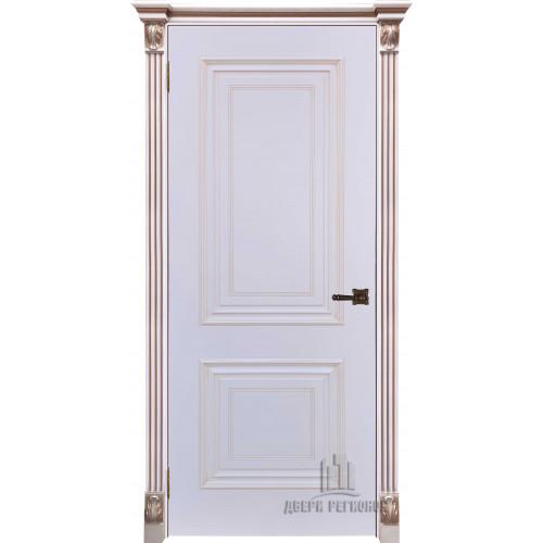 Дверь Итало Багет 30 патина капучино эмаль белая глухая