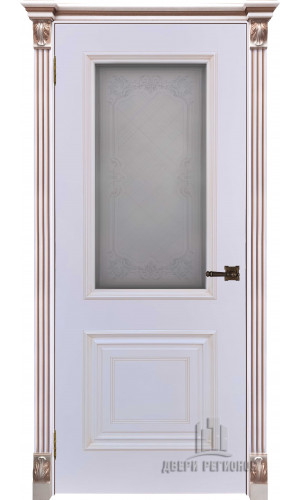 Дверь Итало Багет 30 патина капучино эмаль белая остекленная