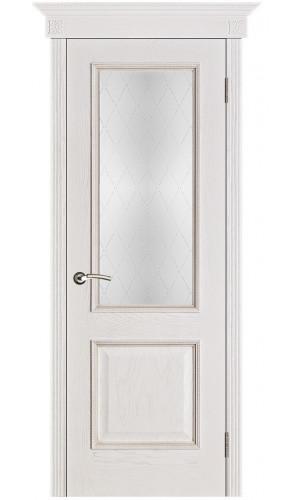 Белорусские двери PORTE VISTА Шервуд белая патина тон 17 стекло классик