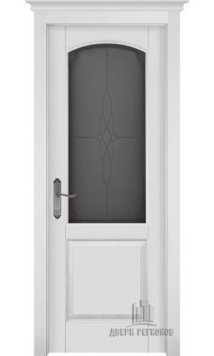 Белорусские двери из массива ольхи Фоборг белая эмаль остекленное