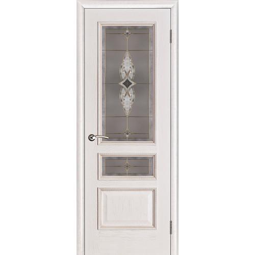 Белорусские двери PORTE VISTА Вена витраж белая патина тон 17