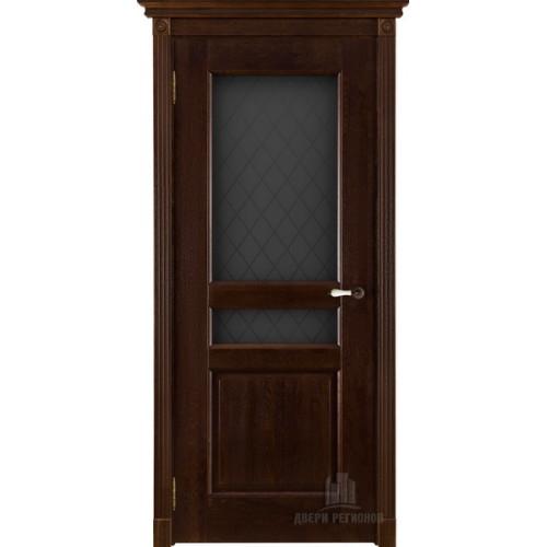 Белорусские двери Виктория стекло массив дуба античный орех