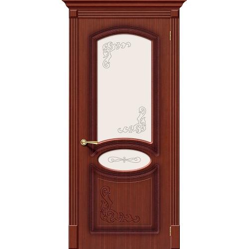 Двери межкомнатные Браво Азалия шпонированная макоре ф-15 остекленная