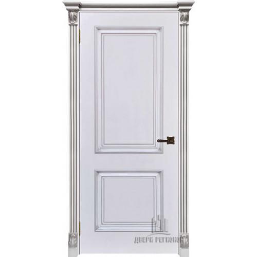 Дверь Итало Багет 32 патина серебро эмаль белая глухая