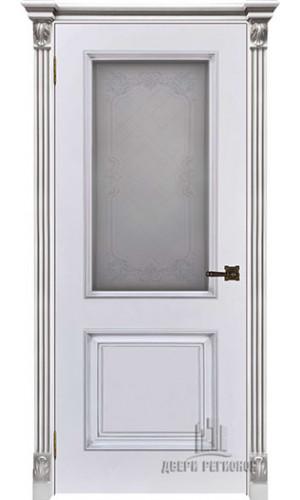 Дверь Итало Багет 32 патина серебро эмаль белая остекленная