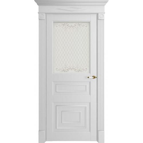 Дверь экошпон Florence 62001 Белый Серена Остекленная