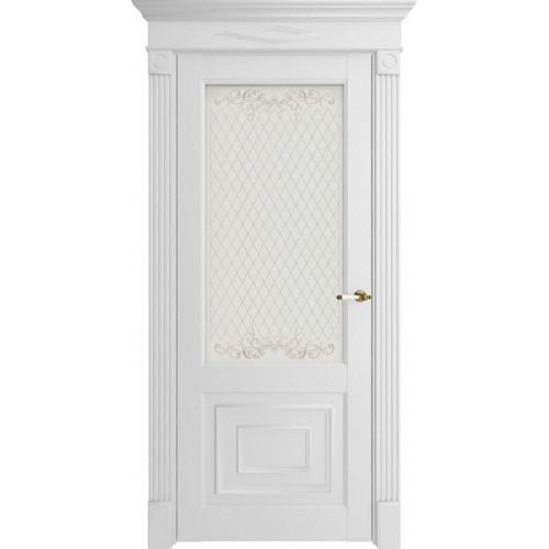 Дверь экошпон Florence 62002 Белый Серена Остекленная