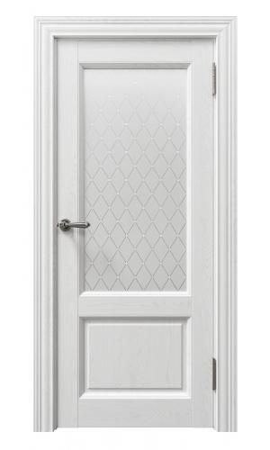 Дверь Сорренто 80010 софт бьянка остекленная