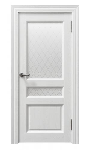 Дверь Сорренто 80014 софт бьянка остекленная