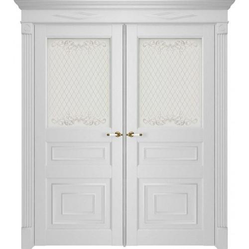 Двойные двери белые в гостиную экошпон 62001 Серена Белый Остекленные