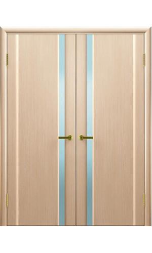 Двойные двери в гостиную Техно 1 беленый дуб