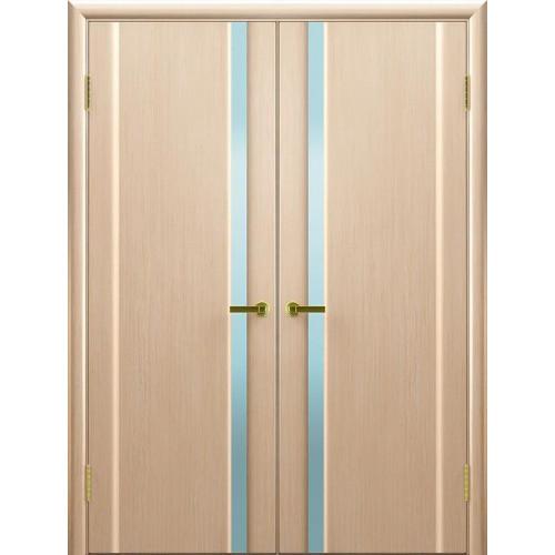 Двойные двери межкомнатные Техно 1 беленый дуб
