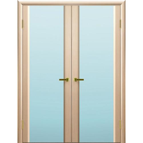 Двустворчатые распашные двери Техно 3 беленый дуб