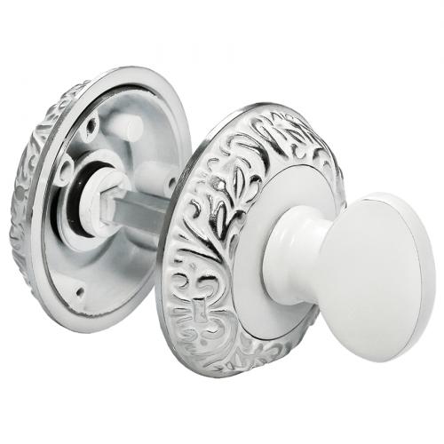 Дверной фиксатор белая эмаль + серебро