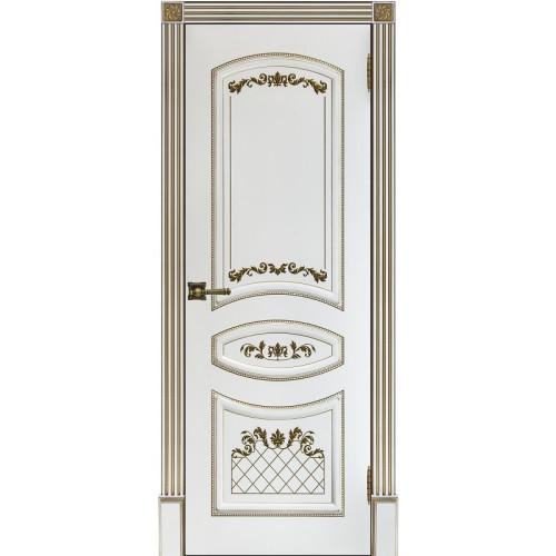 Ульяновские двери Regidoors Алина - 2 дверь эмаль белая с золотой патиной глухое