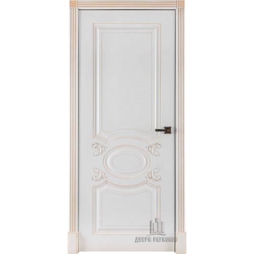 Ульяновские двери Regidoors Аристократ дверь эмаль белая с патиной капучино глухое