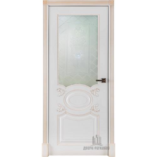 Ульяновские двери Regidoors Аристократ дверь эмаль белая с патиной капучино остекленное