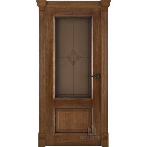 Ульяновские двери Regidoors Гранд 1 натуральный шпон дуб патина антико остекленное