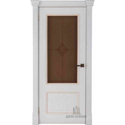 Ульяновские двери Regidoors Гранд 1 натуральный шпон дуб патина бьянка остекленное