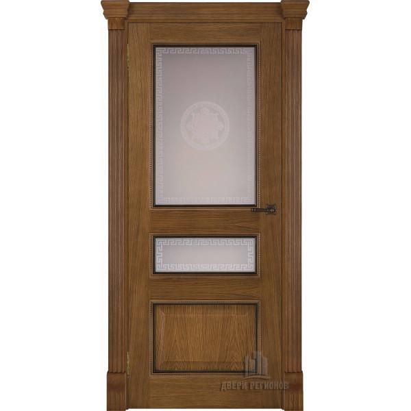 Ульяновские двери Regidoors Гранд 2 натуральный шпон дуб патина антико остекленное
