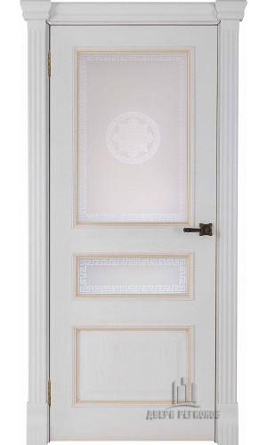 Ульяновские двери Regidoors Гранд 2 натуральный шпон дуб патина бьянка остекленное