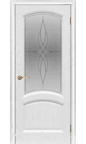 Ульяновские двери Regidoors Лаура натуральный шпон ясень жемчуг остекленное