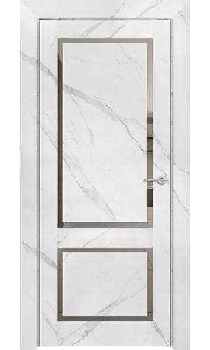 Дверь Neo Loft 301 Marable Soft Touch Монте Белый Остекленная