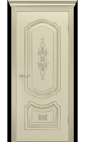 Дверь СОЛО R-0 В3  шампань патина белое золото глухая -
