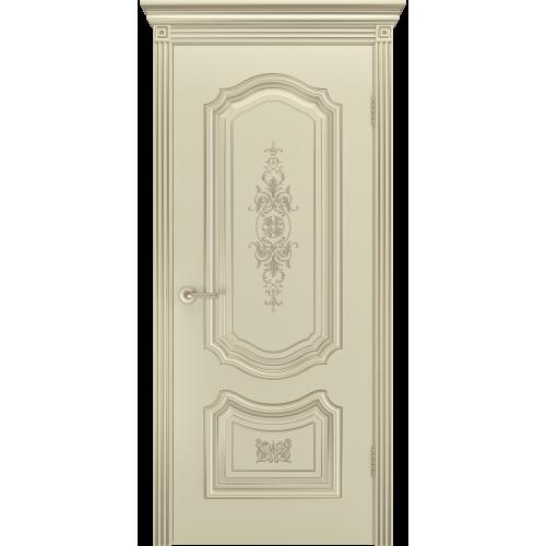 Дверь СОЛО R-0 В3  шампань патина белое золото глухая