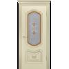 Дверь СОЛО R-0 В3 шампань патина белое золото остекленная -