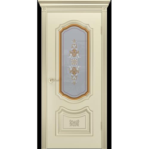 Дверь СОЛО R-0 В3 шампань патина белое золото остекленная