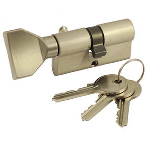 Ключевой цилиндр ключ-вертушка цвет хром/никель