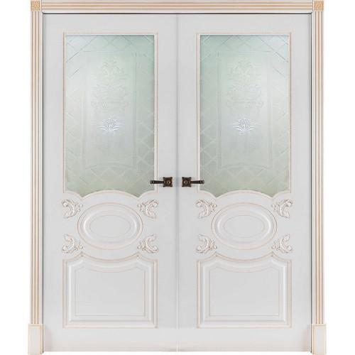 Двустворчатая распашная дверь Аристократ эмаль белая со стеклом