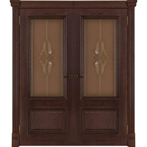 Двустворчатые распашные двери Корсика бренди стекло Кармен