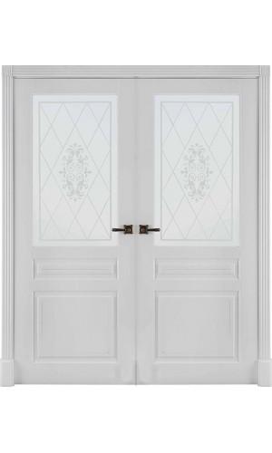 Двустворчатые двери межкомнатные Турин белая эмаль