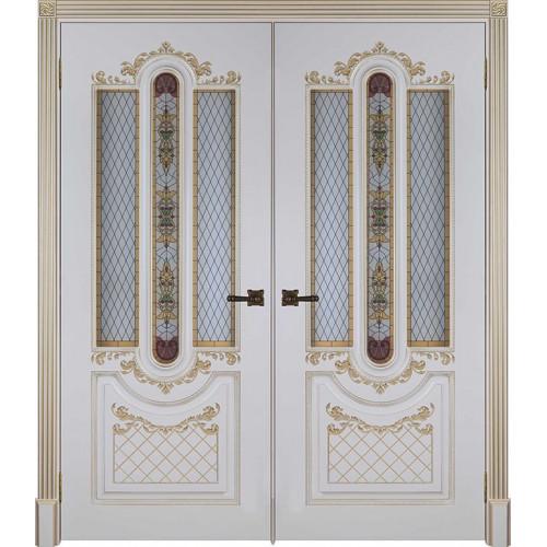 Двустворчатые двери межкомнатные Александрия 2 слоновая кость