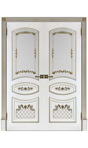 Двустворчатые двери межкомнатные Алина 2 белая эмаль