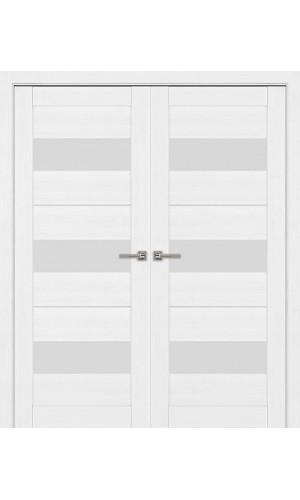 Двустворчатые распашные двери экошпон цвет белый модель 04