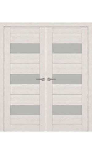 Двустворчатые распашные двери экошпон цвет дуб модель 04