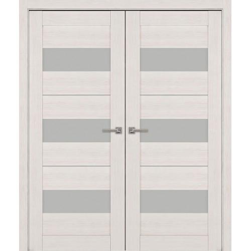 Двустворчатые распашные двери экошпон цвет жемчуг  модель 04