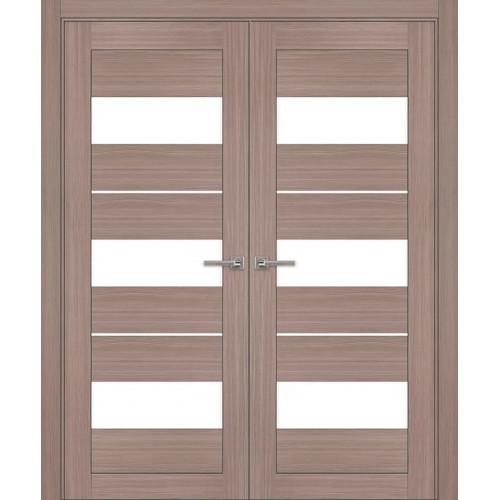 Двустворчатые распашные двери экошпон цвет серый модель 04