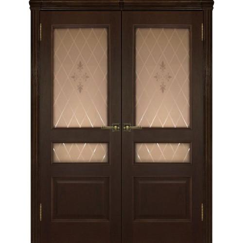 Двустворчатые распашные двери Милан дуб тон 2 остекленные