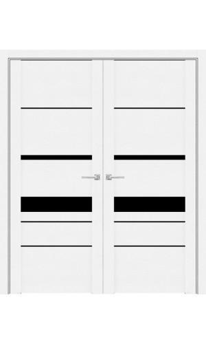 Белые распашные двери 30023 софт Бьянка с широким черным стеклом