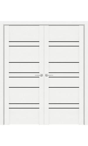 Белые распашные двери 30032 софт Бьянка с черным стеклом