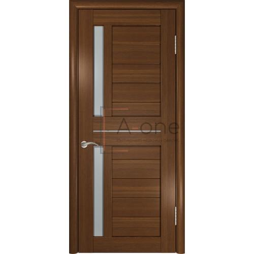 Дверь экошпон межкомнатная со стеклом ЛУ 27 темный орех