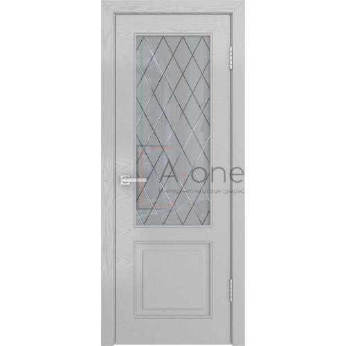 Ульяновская межкомнатная дверь НЕО-1 шпон ясень манхеттен, остекленная