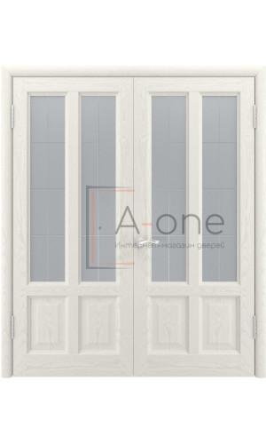 Двойная дверь остекленная Титан 3 Дуб RAL 9010