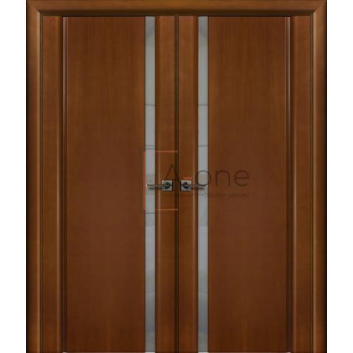 Двойная ульяновская дверь Синай 1 анегри тон 34 остекленная